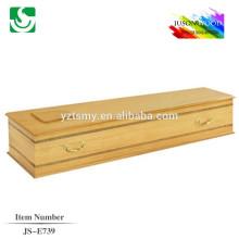 caixão de clássico de madeira tampa plana