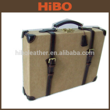 canvas and genuine split leather ammo case