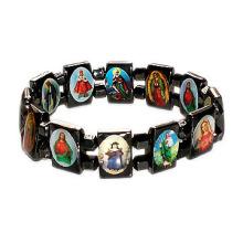 Bracelet de chapelet d'hématite avec photo de saint