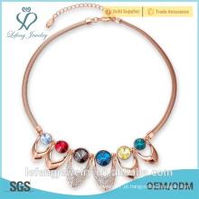 2016 recentemente projetado jóia de cristal colorido, colar de cristal de ouro para a mulher
