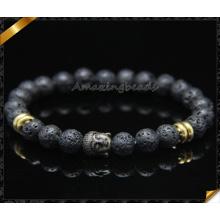 Alta calidad negro lava 8 mm redondos rebordeado pulsera con encantos de buda (CB0115)
