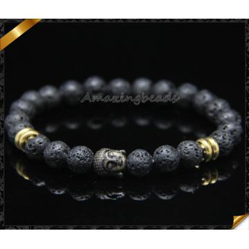 Hochwertige schwarze Lava 8mm runde wulstige Armband mit Buddha Charms (CB0115)
