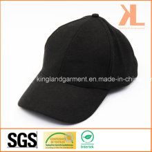 Polyester & Wool Quality Warm Plain Black Baseball Cap
