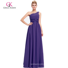 Grace Karin un hombro rebordeados largos vestidos de noche púrpura CL2015-2