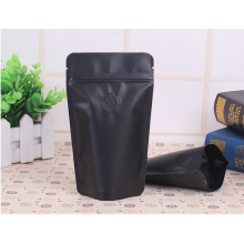Bolsa de café negro de 100 g-150 g con cremallera y válvula