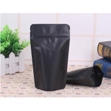Sac à café noir 100g-150g avec fermeture éclair et valve