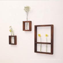Hanging Display Rack Floating Wood Shelf with Glass Bottles