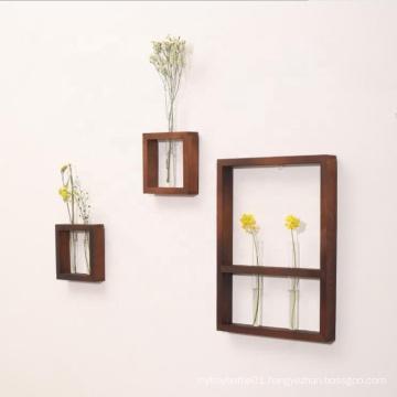 Hanging Display Rack Floating Wood Shelf with Glass Bottles