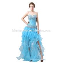 Новый дизайн с плеча короткий передний долго назад вечернее платье мода бисером рыбий хвост вечернее платье для свадебных случаев