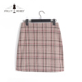 Different Models Brown Plaid Womens Skirts with Button