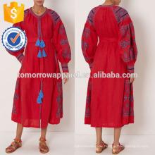 New Fashion Red bestickte Midikleid Herstellung Großhandel Mode Frauen Bekleidung (TA5297D)