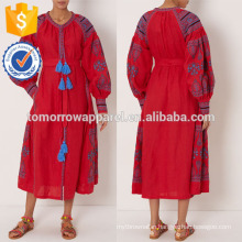 New Fashion Red Embroidered Midi Dress Manufacture Wholesale Fashion Women Apparel (TA5297D)