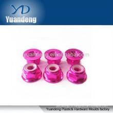 M4 anodized flange nylon insert lock nuts
