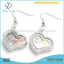 Silber Kristall Herz Anhänger Ohrringe, schöne Foto Glas schwimmende Ohrringe Großhandel