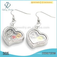 Silver crystal heart charms earrings,beautiful photo glass floating earrings wholesale