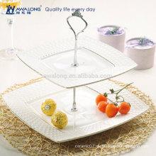 Quadratische Form Hübsche Design Elegante Stil Weiße Porzellan Kuchen Platte, Zwei Schichten Obst Platte