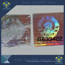 Einfacher zerbrechlicher zerstörter Anti-Fälschungs-Laser-Hologramm-Aufkleber