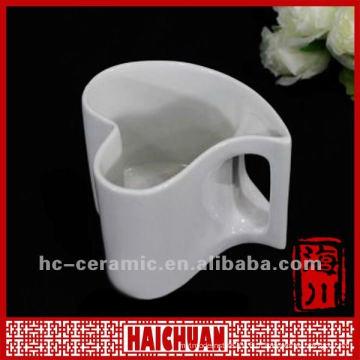 Copo de chá em forma de coração de porcelana, caneca em forma de coração