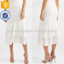 Branco Assimétrica Hem Ruffled Layered Verão Midi Saia Fabricação Atacado Moda Feminina Vestuário (TA0014S)