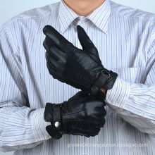 mens black leather gloves with belt closure