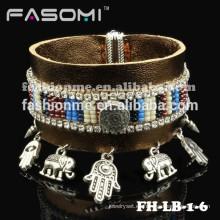 Fashionme de cuero nuevo con pulseras de charms