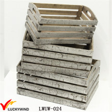 Acabado rústico barato Cajón de madera antiguo pequeño para fruta o planta