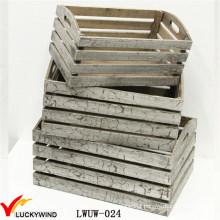 Barato rústico acabamento antigo pequeno madeira caixote para frutas ou plantas