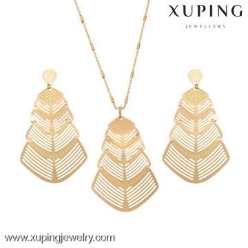 63234 Xuping Fashion Dubai 18k Gold Metal Pendant Earring Jewelry Set Charming Gold Jewelry Set