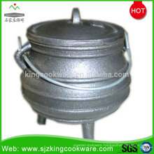 cast iron belly potjie pot with 3 legs for camping and outdoor