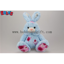 "9,5 ""Cuddle Blue Bunny Stuffed Toy Animal com remendo de tecido de flor Bos1146"