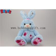 "9,5 ""Cuddle Blue Bunny Stuffed Toy Animal com remendo de tecido de flor Bos1146"