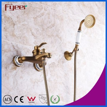 Fyeer Antique Brass Wall Mounted Bath Shower Mixer Faucet