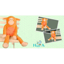 A stuffed monkey loved by children