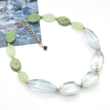 2021 New design fall winter collection clear aqua color acrylic resin chain necklace