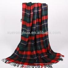 couverture en laine mérinos à carreaux tartan