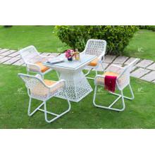 Design elegante de poli e café e conjunto de jantar para móveis de jardim ao ar livre