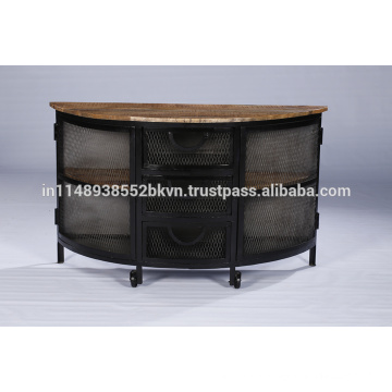 Industrial Vintage Metal Iron Sideboard with Wheels and Natural Wood Top and Shelfs