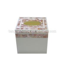 Caja caliente del tejido del hogar del seashell de la caja del tejido del cuadrado de la cáscara de la venta caliente