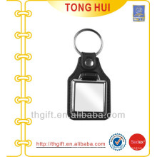 Leather and Metal keyring square shape