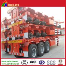 Semirremolque del camión esquelético del marco del envase 40FT para el transporte de los envases