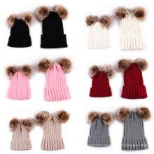 Autumn Winter Double Hair Ball Parent-Child Knitting Cap Spot Warm Men and Women Wool Cap