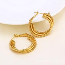 14k Gold Color Circle Design Fashion Imitation Earring (24379)