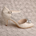 Mary Jane Lace en Crystal Wedding Shoe Ivory Lace
