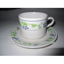 Haonai ceramic side decal stacking coffee cups and saucers
