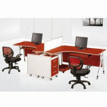 1.2m wooden workstation for 2 persons, MDF veneer cherry, with aluminum partition, T shape design