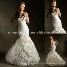 NY-2426 Design atraente com flores artesanais no vestido de casamento da saia
