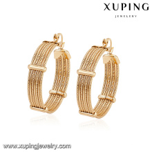 94380 arabic style free size copper alloy graceful gold hoop earring designs for girlfriend gift