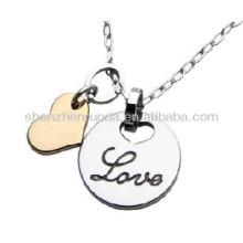 Amoureux, deux pendentifs en acier inoxydable, ne se fanent jamais sans allergie, les bijoux en collier masculin