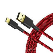 Cabo USB 2.0 trançado tipo A para tipo C