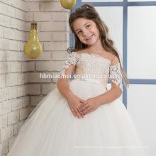 2017 nuevos apliques de encaje de alta calidad de la manera vestido de la muchacha de flor con las mangas por encargo con el vestido de boda del bebé de las muchachas de la correa